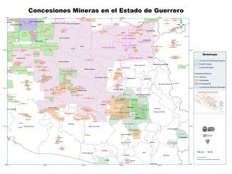 MAPA | Concesiones mineras solicitadas en Guerrero a 2018. CRAADT - REMA - PIAP